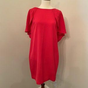 Hot pink flutter sleeve cape Calvin Klein dress